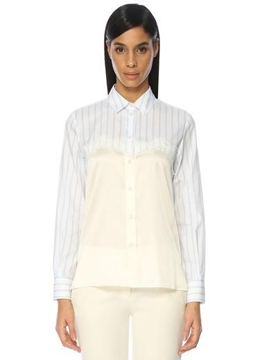 İngiliz Yaka Dantel Detaylı Çizgili Yanları Yırtmaçlı Gömlek-Beymen Collection